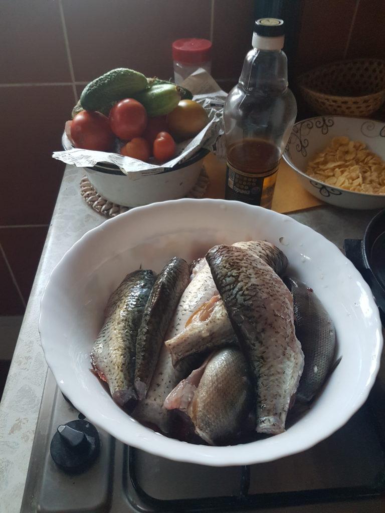 Разделанная рыба из реки Мга